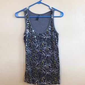 Sequined animal print tank top. Size M